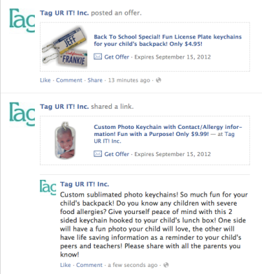 Tag UR It! Inc  just launched our first Facebook Offer