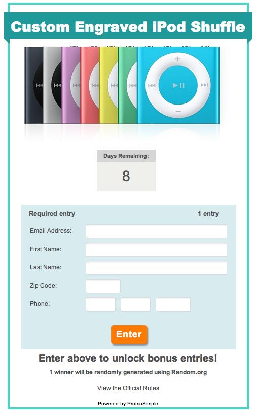 Free ipod shuffle giveaway sweepstakes