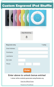 Click here to Enter our iPod Giveaway! We love Sweepstakes and Contests!!
