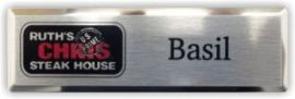 Silver Beveled Metal Name Tag with Silver Face