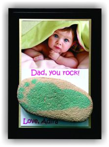 "This customizable 4""x6"" plaque was made for the day of a sweet baby girl on his first Father's Day! She picked out the rock herself on her first beach trip!"