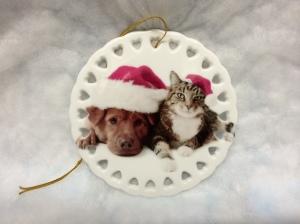 "Our 4"" white porcelain circle photo Christmas ornament."