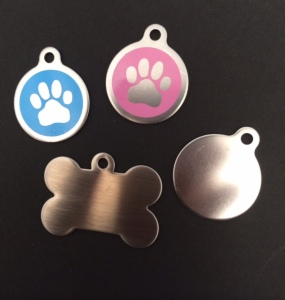 These stainless steel pet tags are the newest addition to our pet tag line! These sleek and stylish pet tags also come engraved with your pet's information.