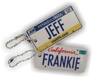 Tag UR It! inc.'s custom name and date license plate keychains